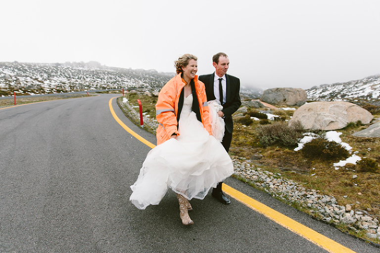 Snowy mountians wedding