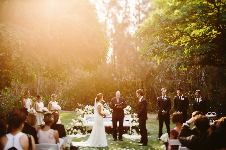 Sun is behind the couple, creating beautiful golden light.