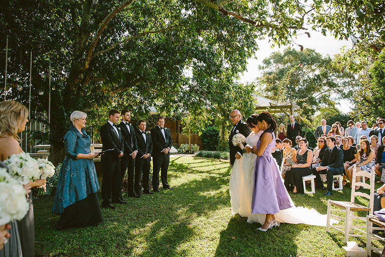Notice the Bridal Party are in even light, and the guests are in the sun.