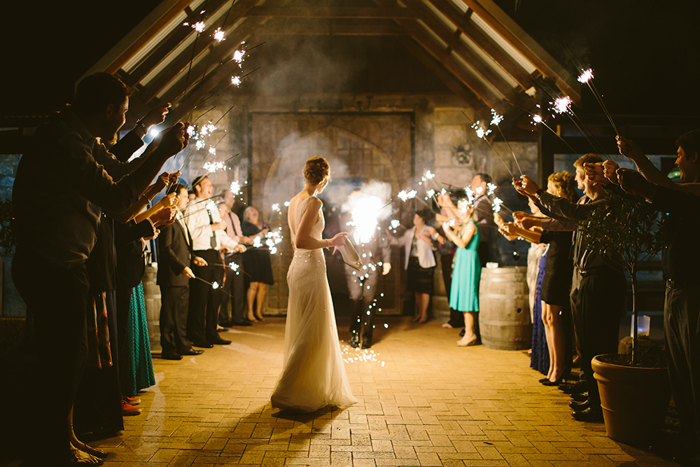 Groom lit a bunch a sparklers at once.