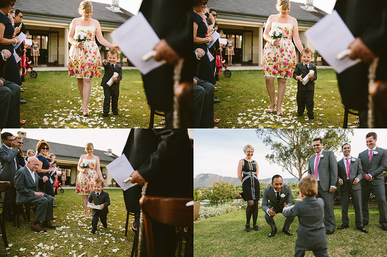 Amazing reaction as the Page Boy sees the Groom and runs to him.