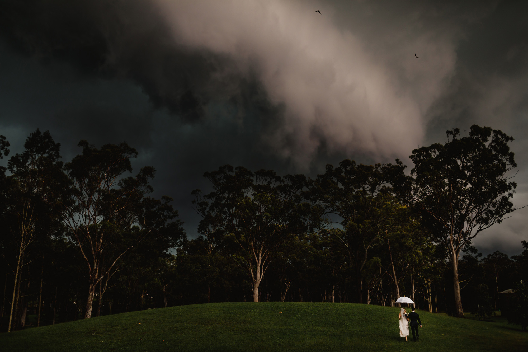 Storm clouds on wedding