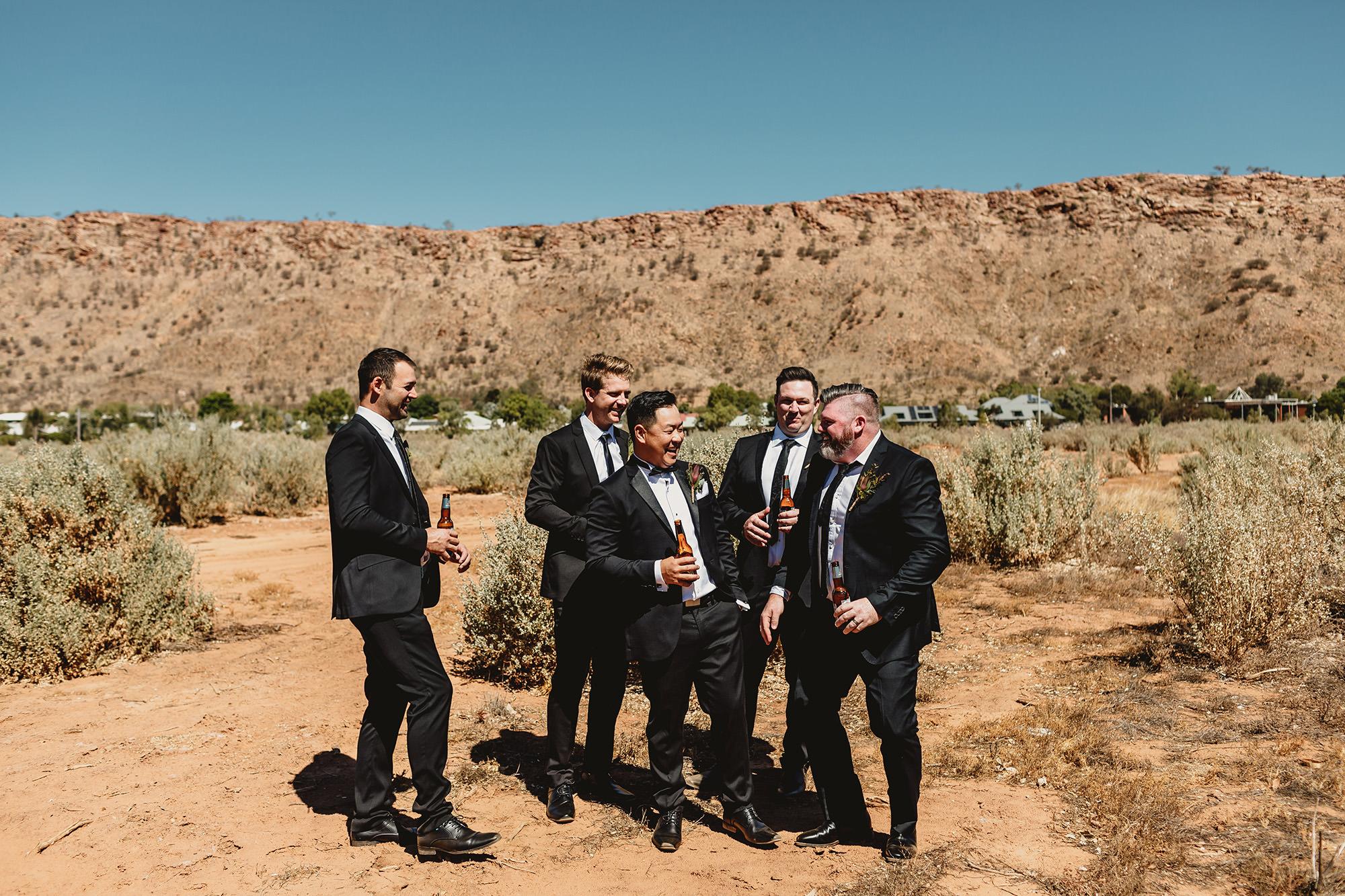 alice springs wedding groomsmen