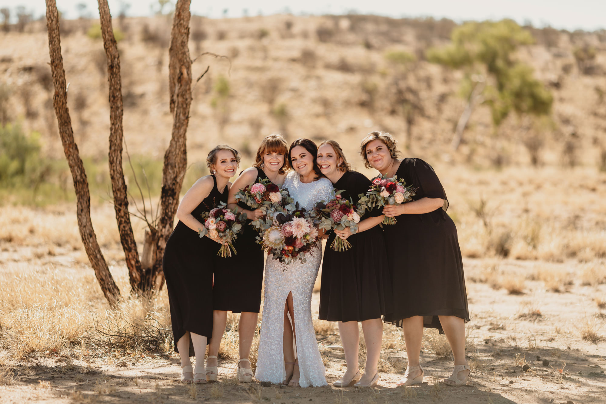 Alice springs wedding with bridal party