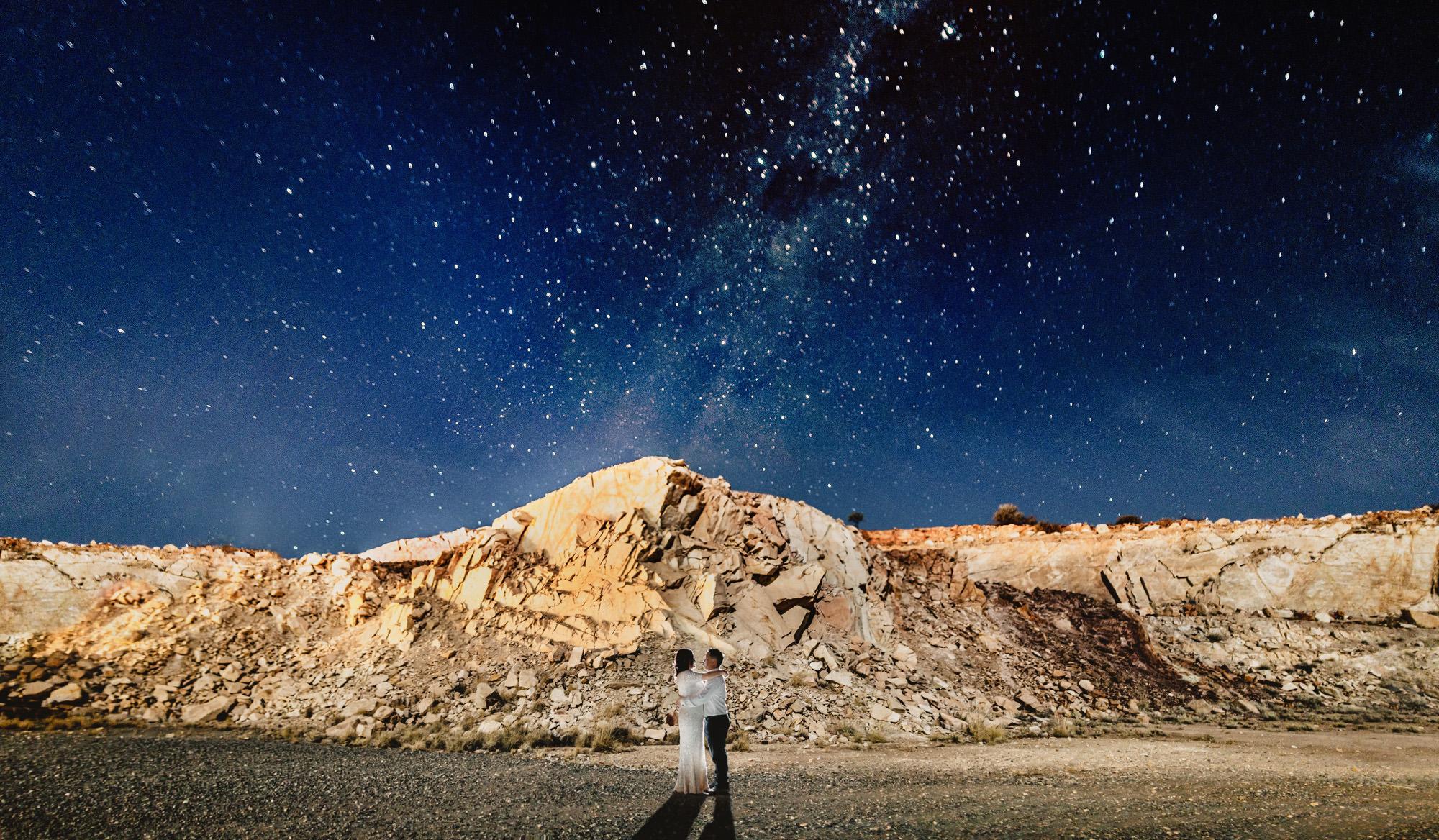 Alice springs wedding the quarry night shot under the stars