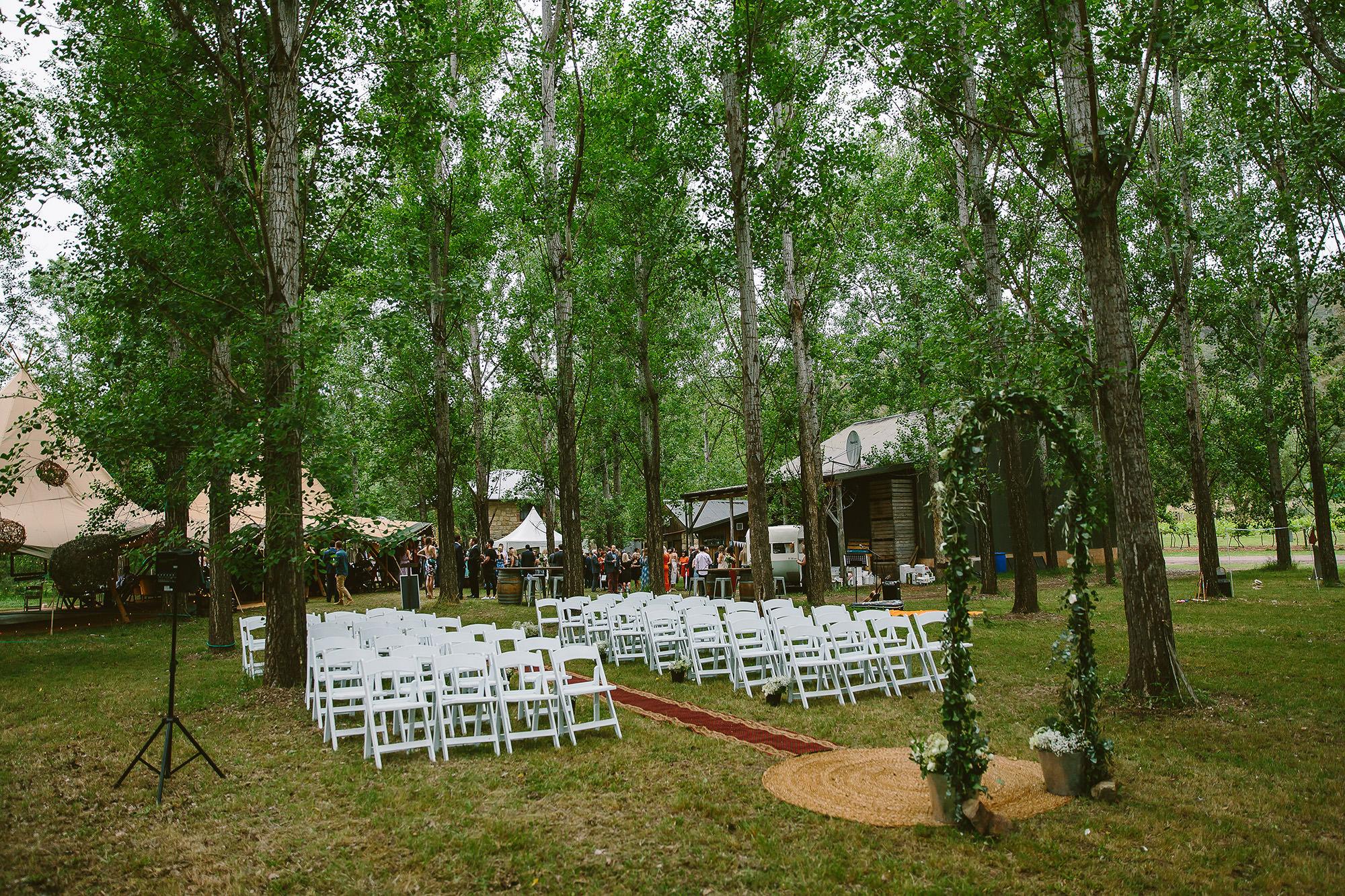 Stonehurst Cedar Creek Wedding ceremony setup