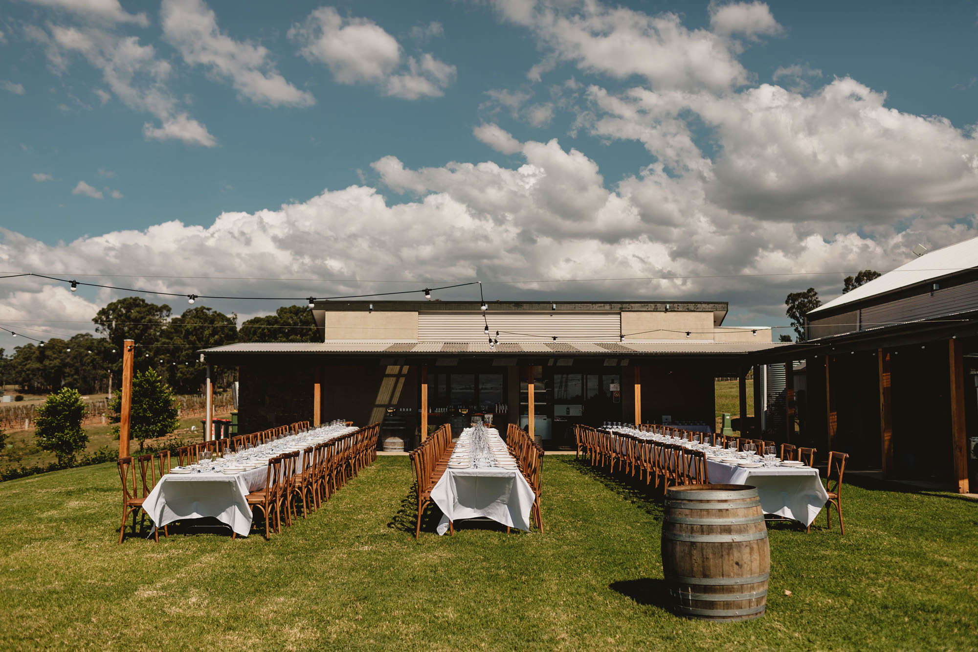 Outdoor reception set up at bimbadgen palmers lane wedding venue