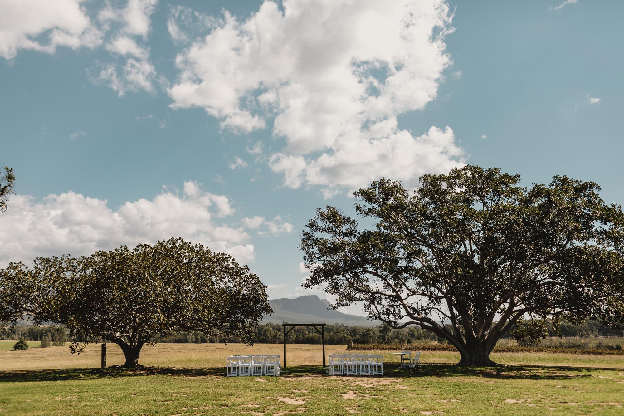 Outdoor ceremony set up at bimbadgen palmers lane wedding venue
