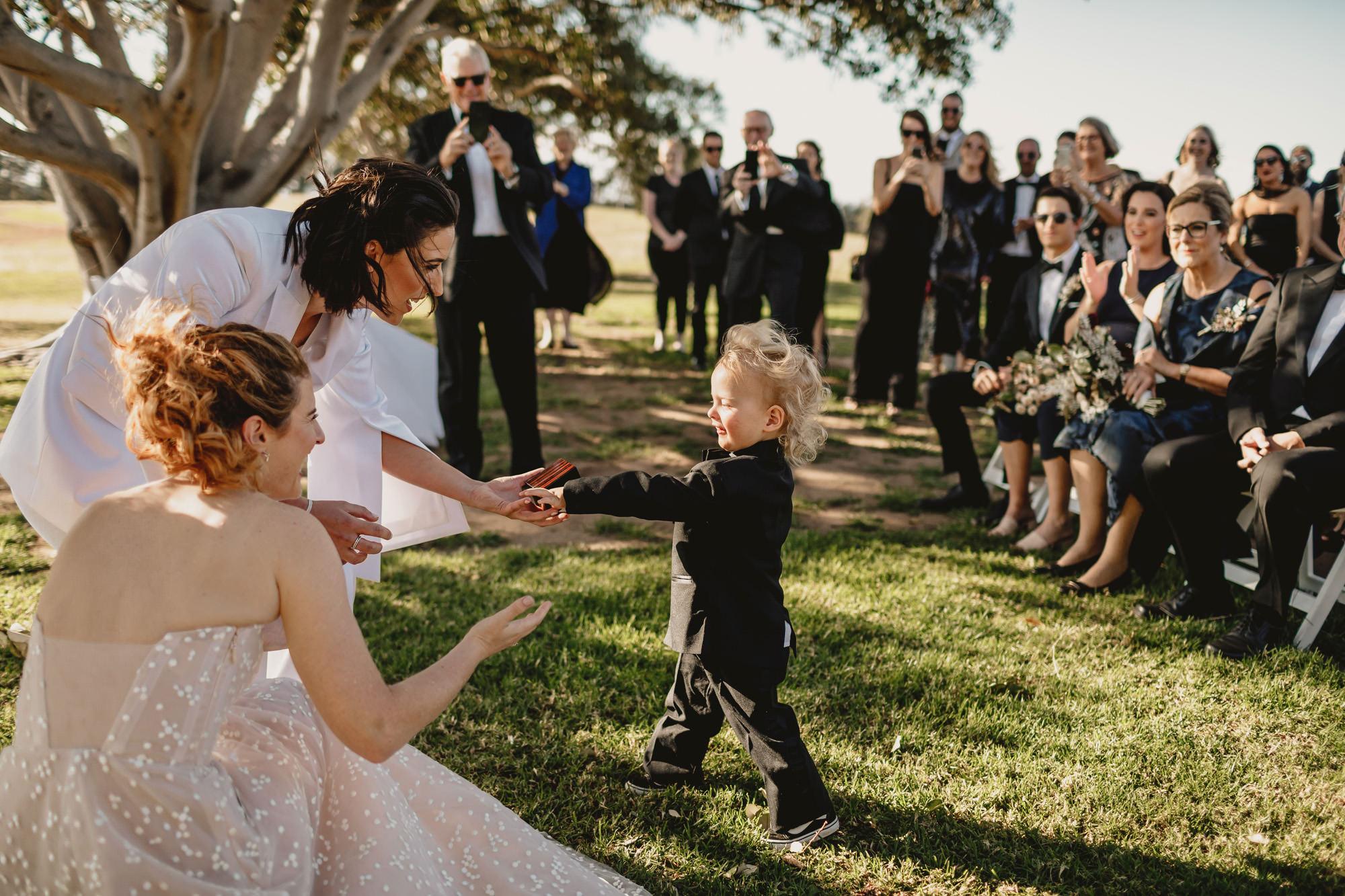 outdoor wedding ceremony at bimbadgen palmers lane wedding