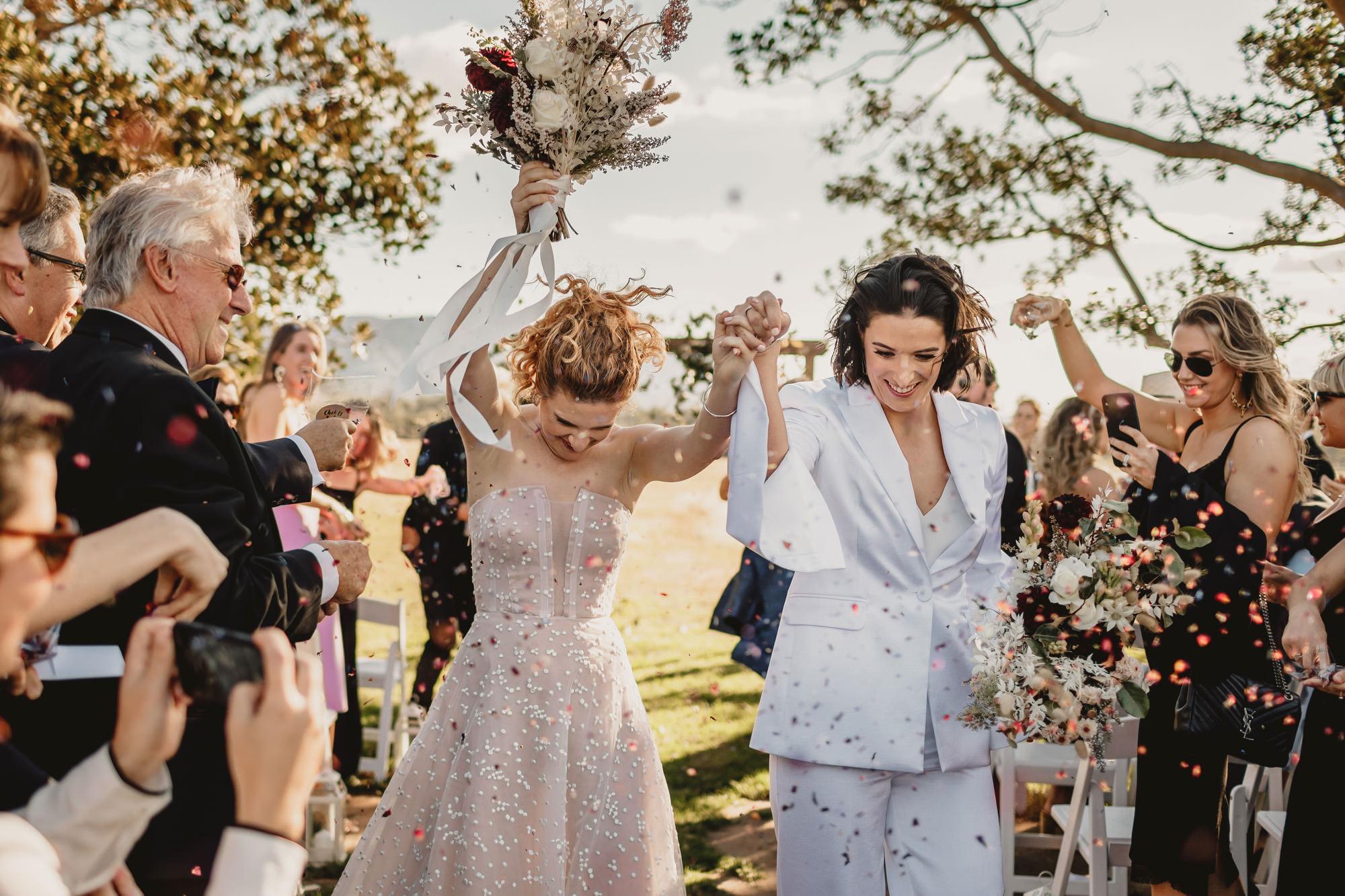 same sex wedding at bimbadgen palmers lane