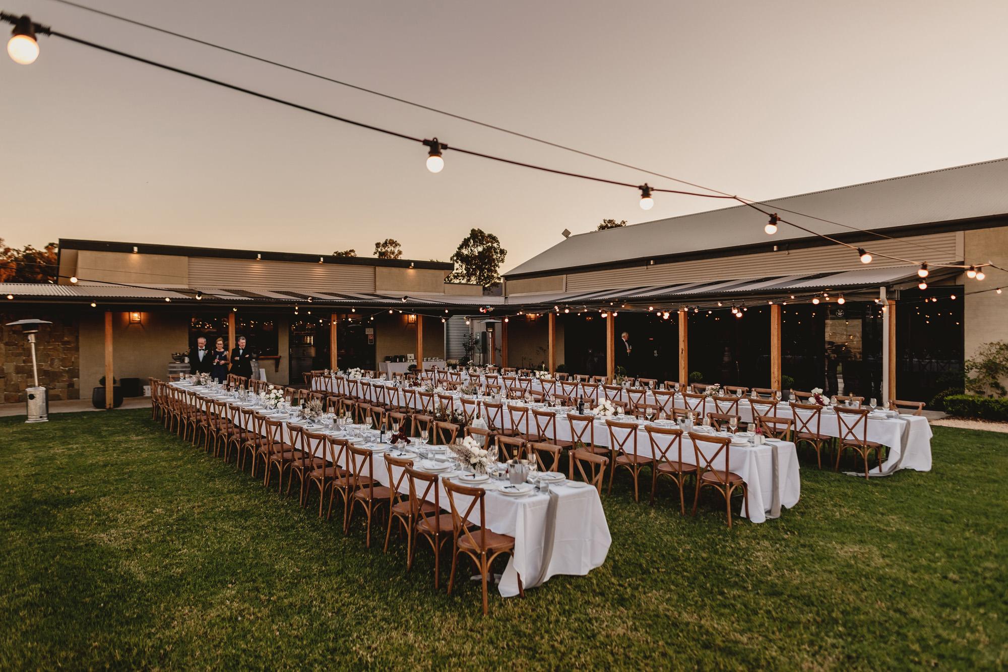 wedding reception at bimbadgen palmers lane hunter valley