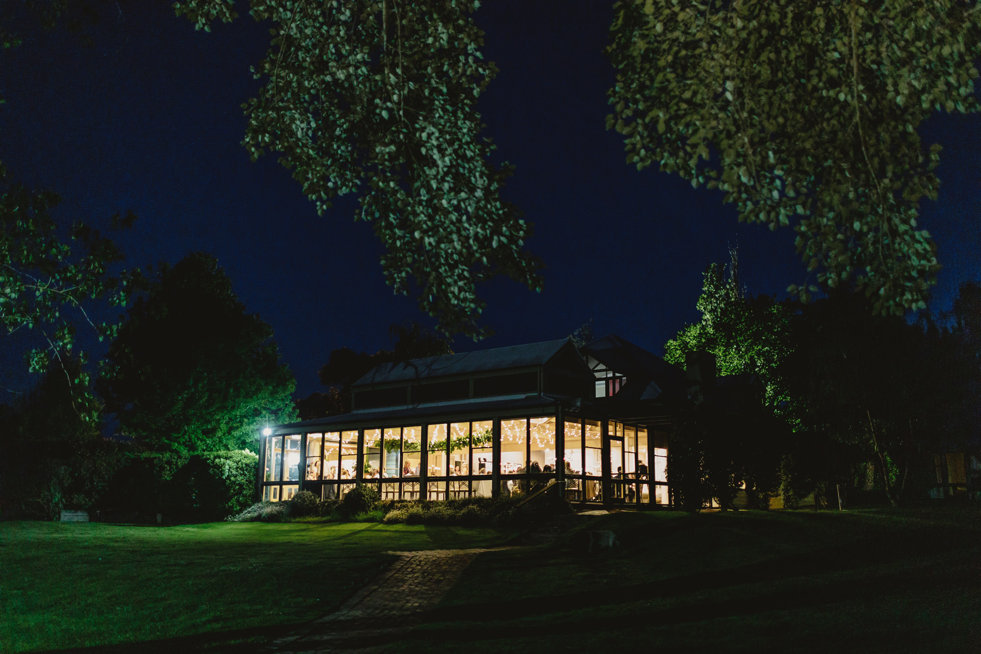 briars country lodge wedding reception venue at night.