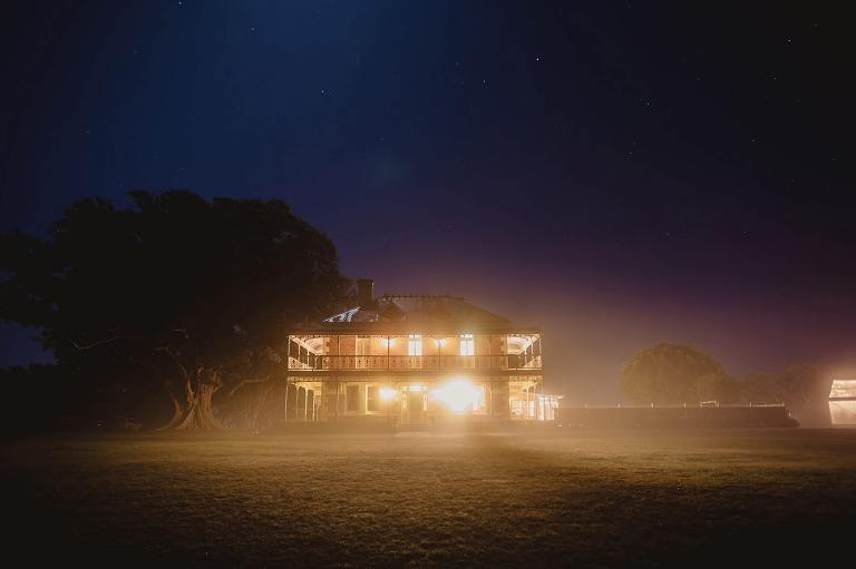 Stanley park at night with mist and fog