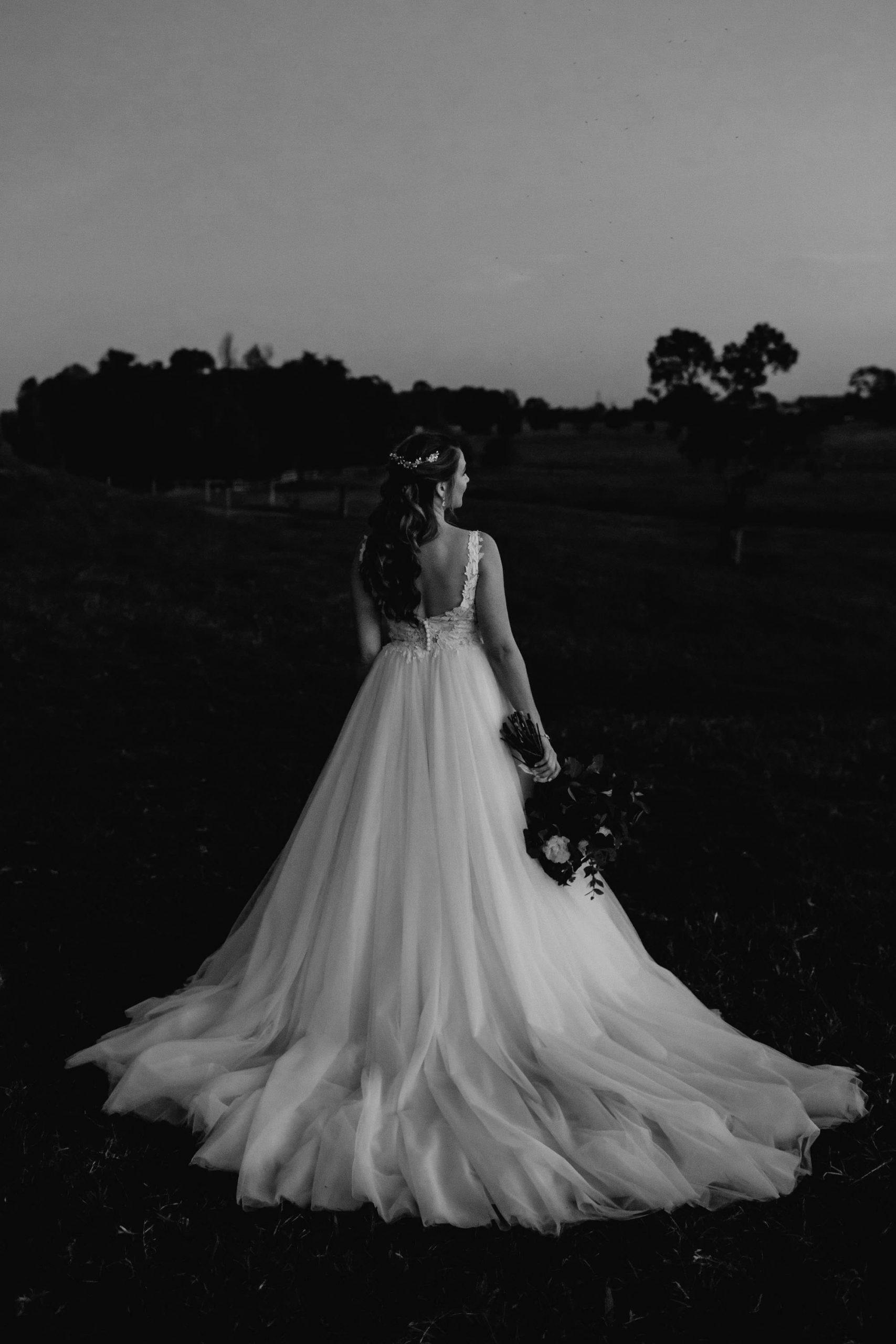 Bride at sunset